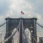 Ole Glory Over Brooklyn Bridge Art Print