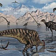 Omeisaurus And Parasaurolphus Dinosaurs Art Print