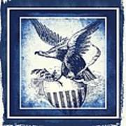 On Eagles Wings Blue Art Print