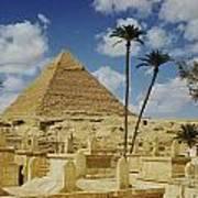 One Of The Pyramids Seen Behind An Arab Art Print