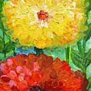 One Yellow One Red And Orange Flower Shines Art Print