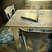 Open Book On Old Table Art Print