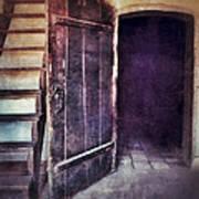 Open Door By Staircase Art Print