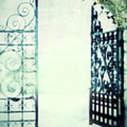 Open Iron Gate In Fog Art Print