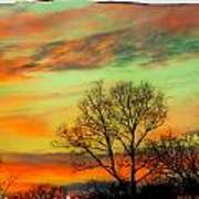 Orange And Blue Sky Art Print