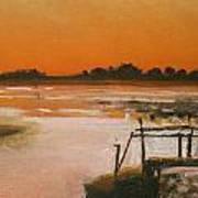 Orange Estuary Art Print