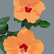 Orange Hibiscus Twins Art Print