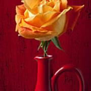 Orange Rose In Red Pitcher Art Print