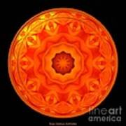 Orange Rose Kaleidoscope Under Glass Art Print