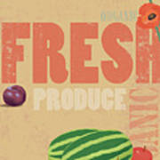 Organic Fresh Produce Poster Illustration Art Print by Don Bishop