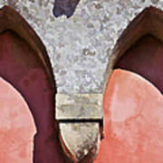 Ornate Design Of Carved Stone Arch Against A Red Faded Plaster Wall Art Print