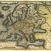 Ortelius's Map Of Europe, 1570 Art Print