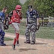 Ouch Baseball Foul Ball Digital Art Art Print