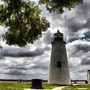 Overcast Clouds At Turkey Point Lighthouse Art Print