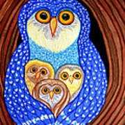 Owl And Owlettes Art Print
