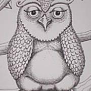 Owl Sketch Art Print by Barbara Stirrup