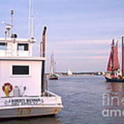 Oyster Boat On The River  Art Print