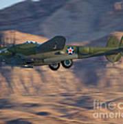 P-38 Gear Up Art Print by Tim Mulina