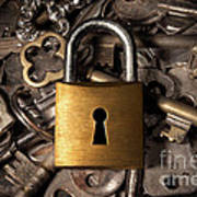 Padlock Over Keys Art Print by Carlos Caetano