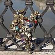 Padlocks On Bridge. Rome Art Print by Bernard Jaubert