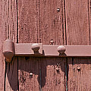 Painted Red Iron Hinge On A Red Barn Door Art Print