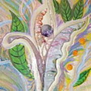 Painting And Fused Glass Flora Print by Judy Via-Wolff