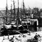Palermo Sicily - Shipping Scene At The Harbor Art Print