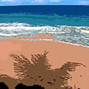 Palm Shadow On The Beach Art Print