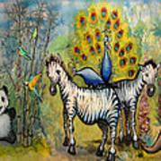 Panda Peacock Kangaroo Zebra Art Print