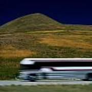 Panned View Of A Bus On Interstate 15 Art Print
