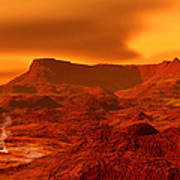 Panorama Of A Landscape On Venus At 700 Art Print
