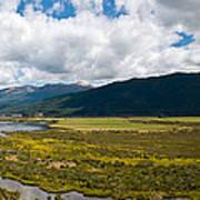 Panorama Of Waiau River Wetland South New Zealand Art Print