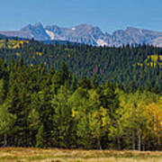 Panorama Scenic Autumn View Of The Colorado Indian Peaks Art Print
