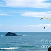 Paraglider On The Ocean Beach Art Print