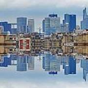Paris La Defense And Trocadero Skyline Mirrored Art Print