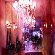 Paris Posh Pink Red Hotel Interior Chandelier Art Print by Kathy Fornal