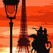 Paris Tour Eiffel Red Art Print