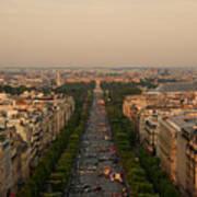 Paris View At Sunset Art Print