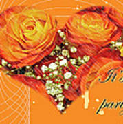 Party Invitation - Orange Roses Art Print