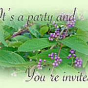 Party Invitation - General - American Beautyberry Shrub Art Print by Mother Nature