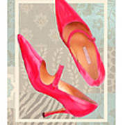 Passion Pink Strapped Pumps Art Print