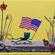 Patriot Frog Art Print by Gracies Creations