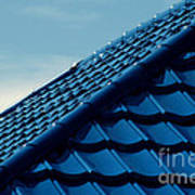 Pattern Of Blue Roof Tiles Art Print