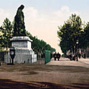 Paul Riquet Statue And The Allees In Beziers - France Art Print