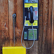 Pay Phone And Book Wooden And Yellow Art Print