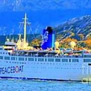 Peace Boat Along South America Coastline Art Print