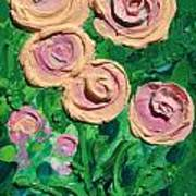 Peachy Roses Taking Form Art Print by Ruth Collis