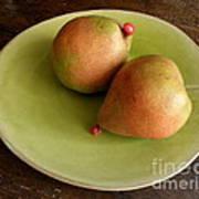 Pears On Heart Plate Art Print