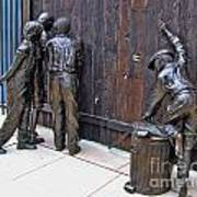 Peeking At Baseball Game Sculpture Art Print