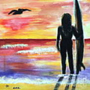 Pelican And The Surfer Girl Art Print